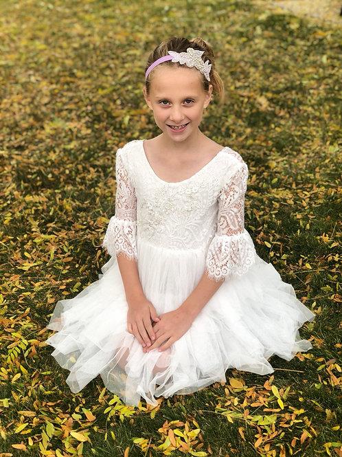 Lace Sleeve All White Tutu Dress