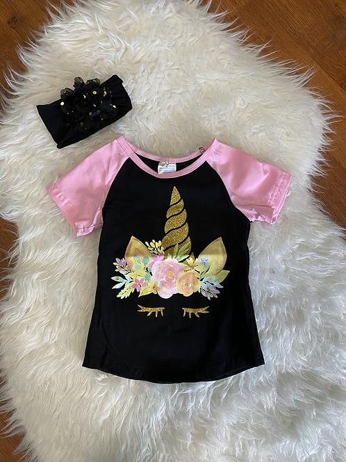Black/Pink Unicorn Shirt