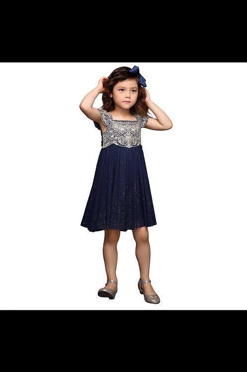 Navy Blue Glitter Dress