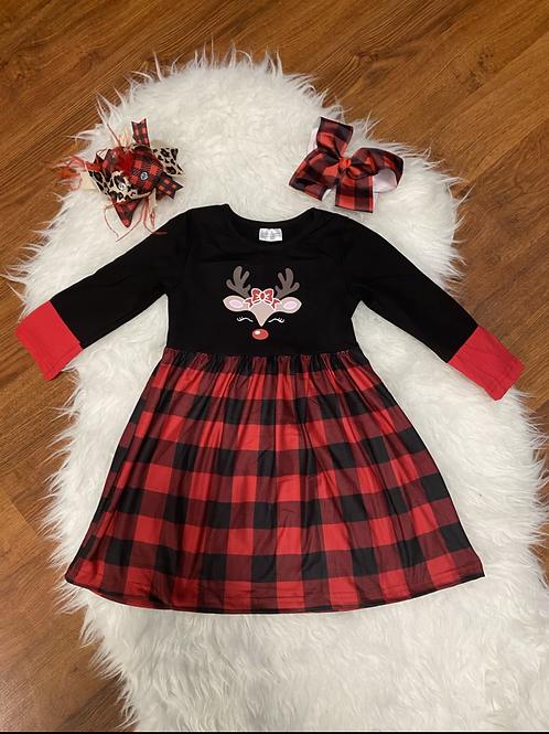 Plaid Reindeer Dress