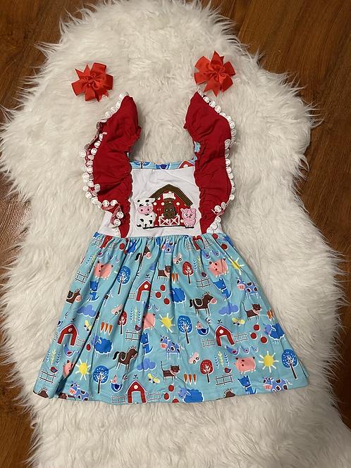 Red Blue Farm Dress