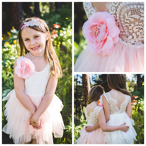 Light Pink/Peachy Sleeveless Tutu Dress With Flower