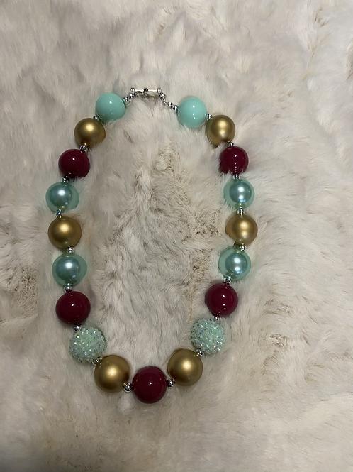 Wine/Blue/Gold Bubble Necklace