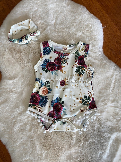 White Wine Floral Romper with Headwrap