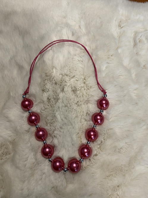 Dark Pink Bubble Necklace
