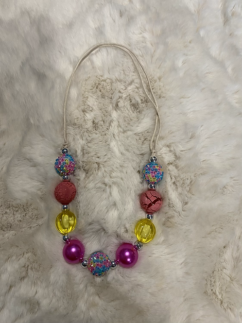 Colorful Pink Yellow Bubble Necklace