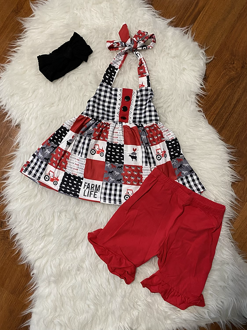 Red Farm Life Tie Up Outfit