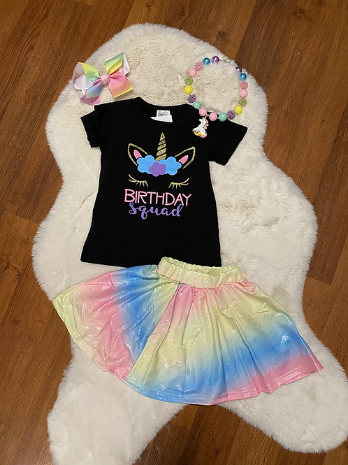 Birthday Squad Skirt Outfit