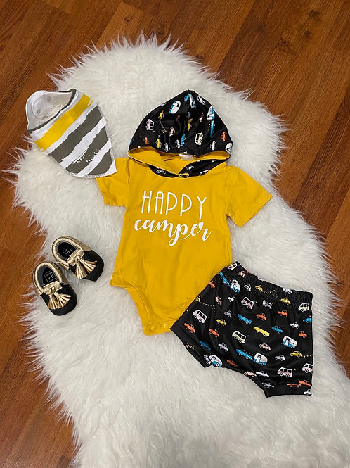 Happy Camper Hooded Shorts Outfit