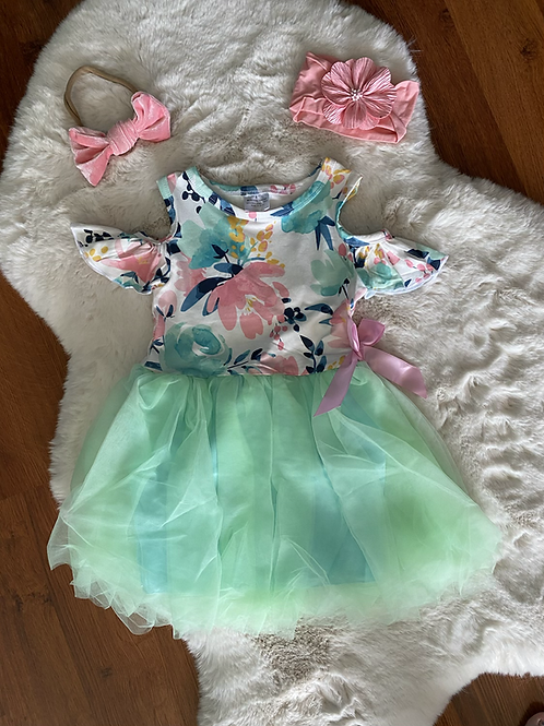 Green Flower Tutu Dress