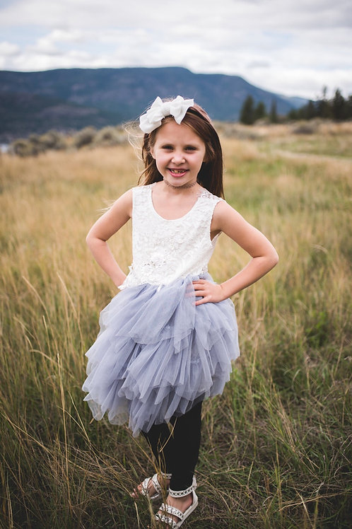 Grey Sleeveless Tutu Dress
