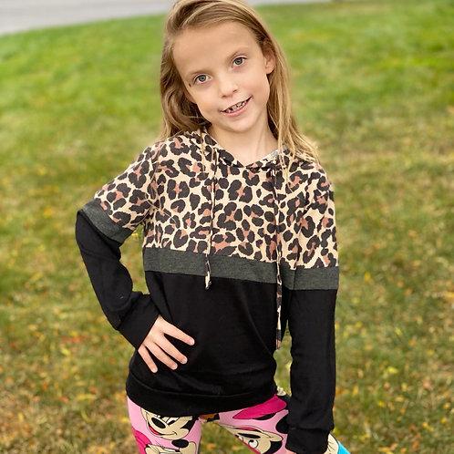 Black Leopard Lightwight Hooded Sweater