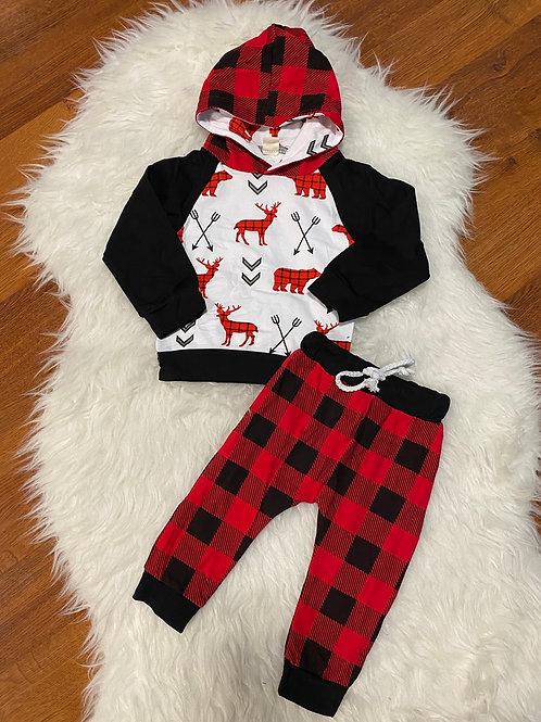 Moose/Deer Plaid Outfit