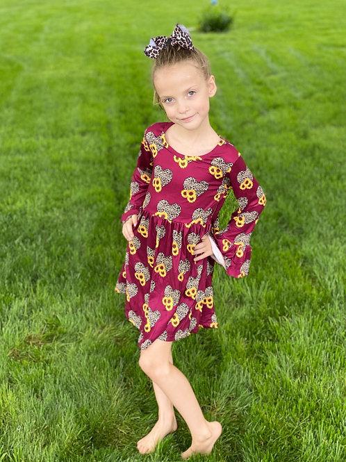 Wine Leopard Sunflower Long Sleeve Dress