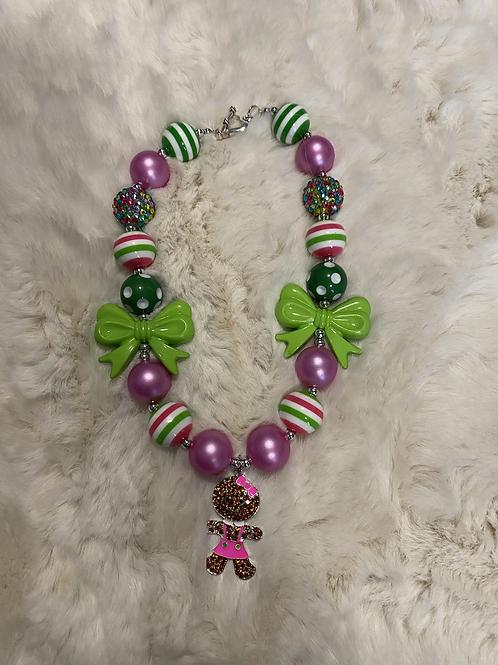 Bow Little Girl Bubble Necklace