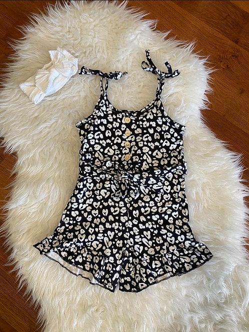 Black/White Heart Romper