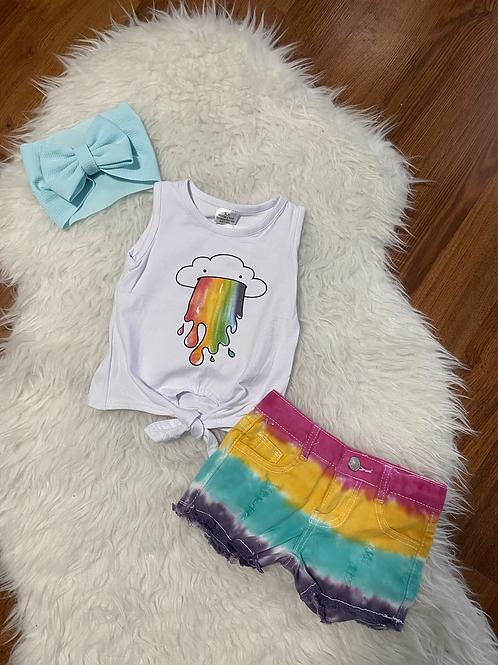 Rainbow Tye Dye Shorts Outfit