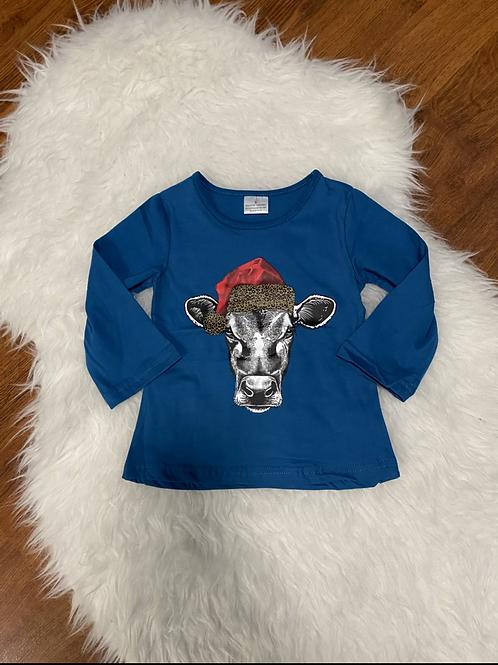 Santa Hat Cow Shirt