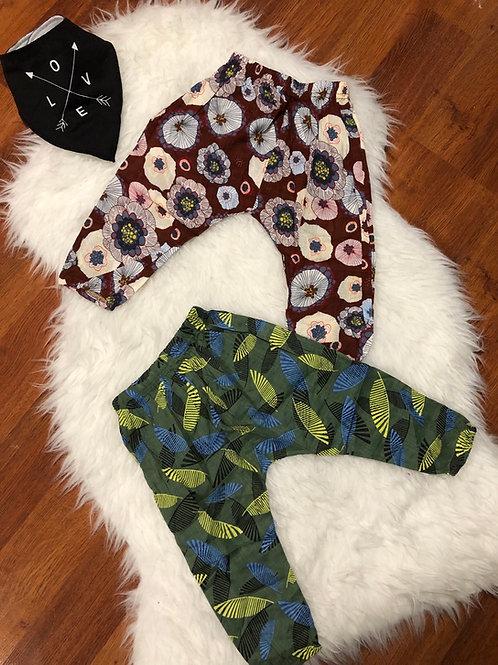Green/Mauve Lightweight Harem Pants
