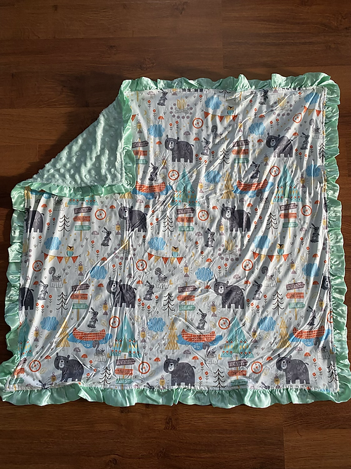 Bear Camping Adventure Baby Blanket