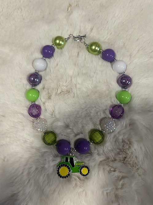 Green Tractor Bubble Necklace