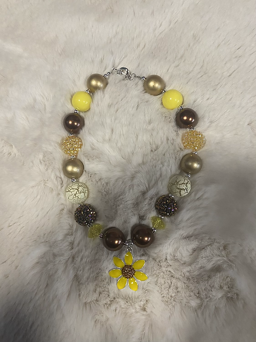 Yellow Gold Sunflower Bubble Necklace