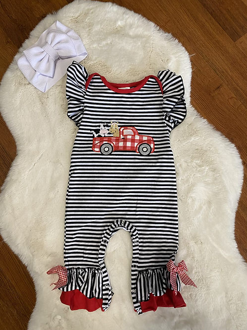 Red Truck Farm Animals Ruffled Romper