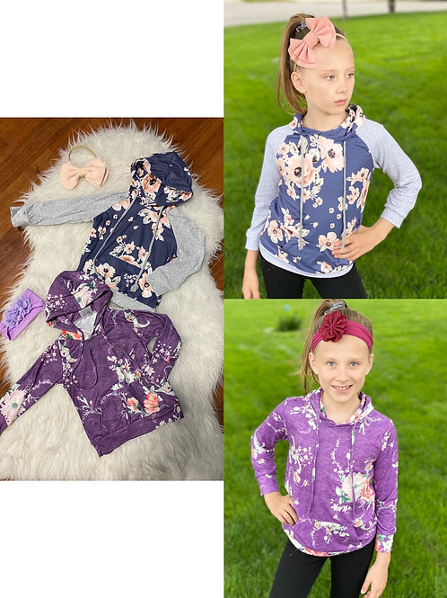 Purple and Blue Flower Lightweight Sweaters