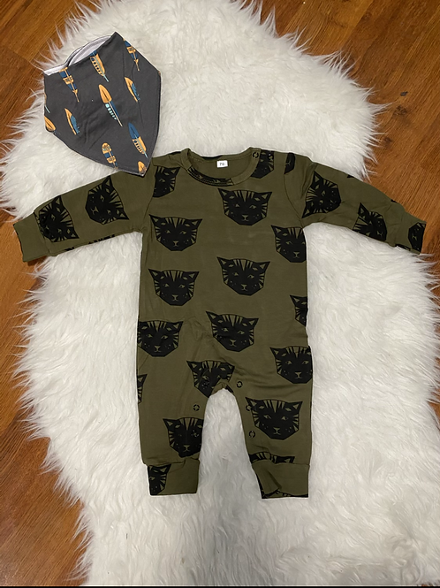 Green Cat Romper