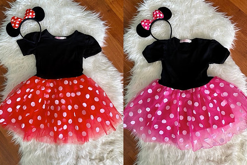 Red and Pink Minnie Inspired Tutu Dresses with headbands