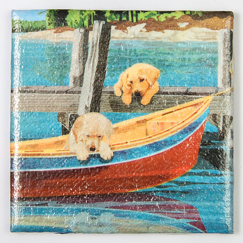Golden Retrievers at the Lake:  Set of 4