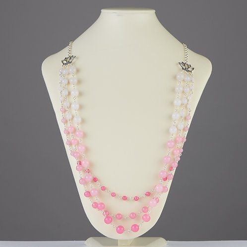Pink Ombre Triple Strand Necklace