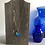 Thumbnail: Blue Gold Alcohol Ink Wood Circle Pendant Necklace