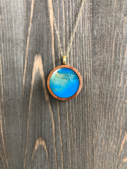 Blue Gold Alcohol Ink Wood Circle Pendant Necklace