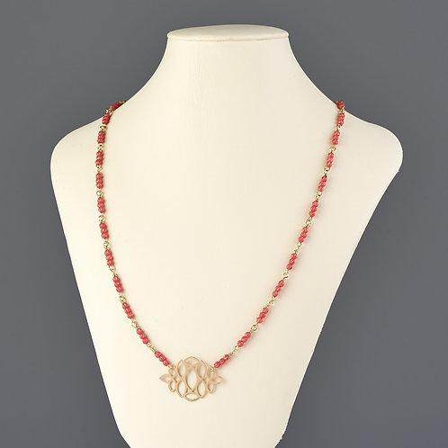 Salmon Beaded Necklace with Cutout Pendant