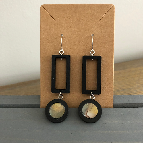 Bronze and Black Rectangle Alcohol Ink Dangle Earrings