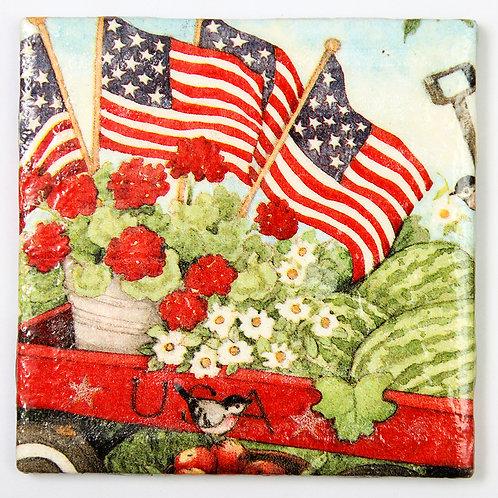 Patriotic Wagon of Blooms:  Set of 4