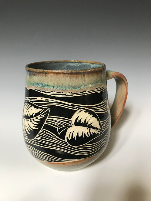 Leaf Sgraffito Mug