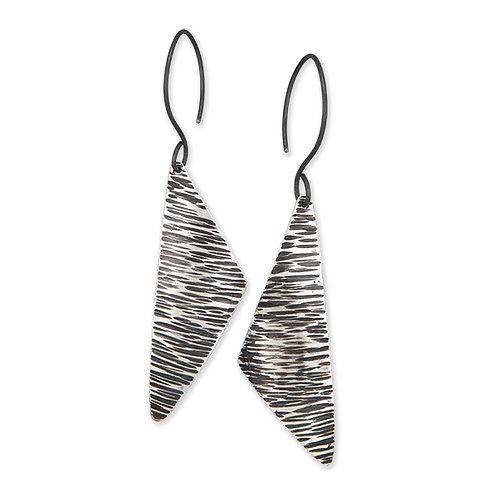 Asymmetrical Earrings - Hammered Texture