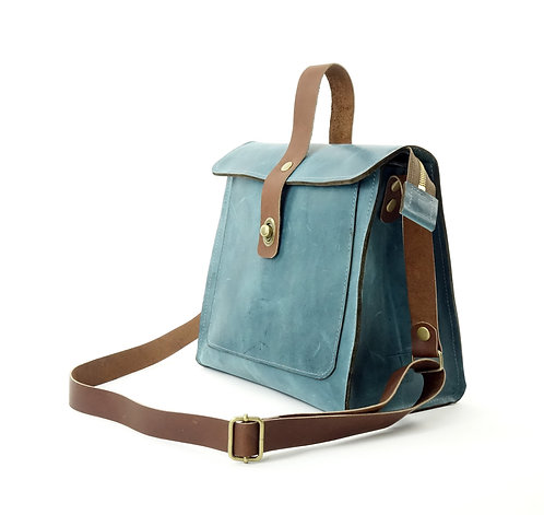 Teal Leather Satchell Shoulder Bag