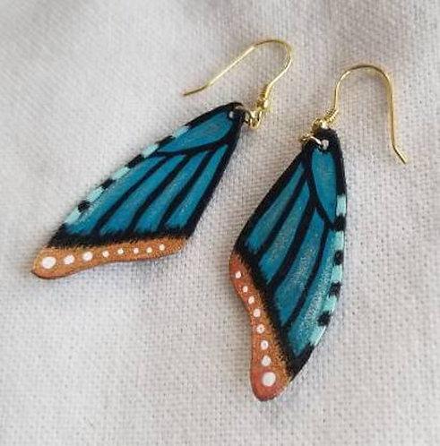Handpainted Leather Blue Butterfly Earrings