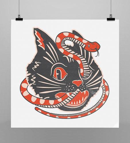 Print Spooky Snake Cat