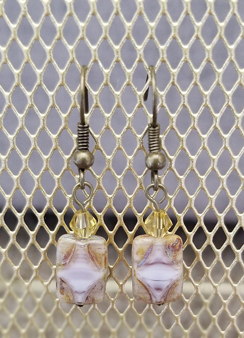 Lavendar Earthtone Square Earrings