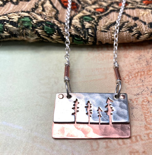 Forest Necklace in Sterling Silver and Copper