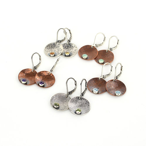Disc Earrings with stone