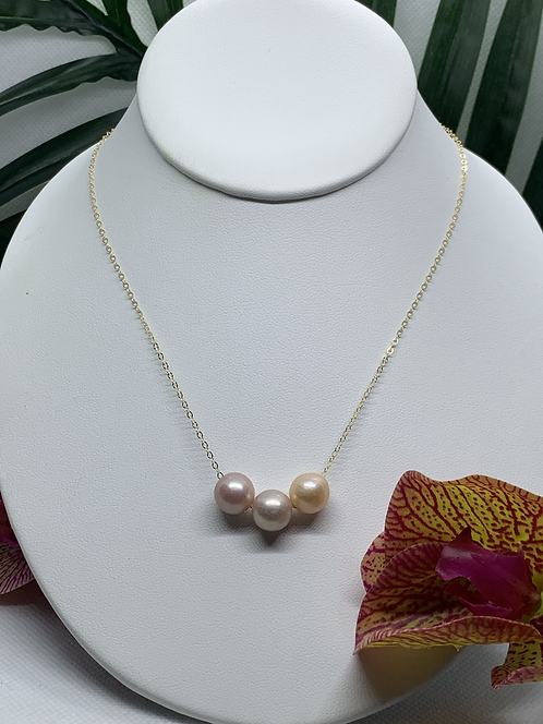 Pink Edison Pearl Triple Floating Necklace