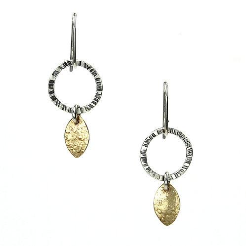 Leaf Drop Hoop Earrings - gold-filled leaves