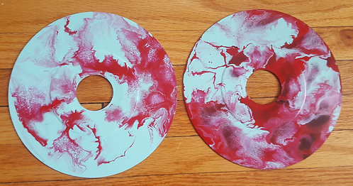 2 Teal and Red explosions on Vinyl