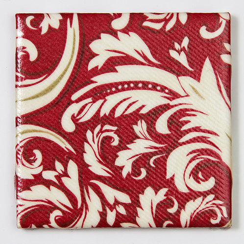 White Swirls on Dark Red:  Set of 4