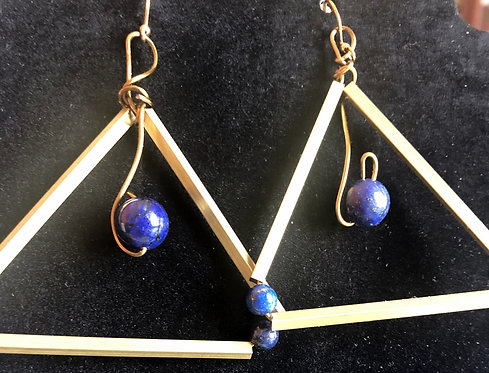 Triangle Brass and Lapis Earings